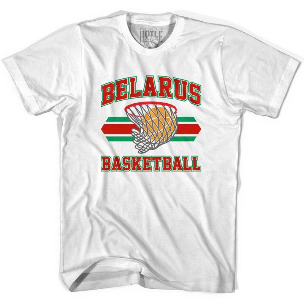 Belarus Basketball 90s Basketball T-shirt - White / Youth X-Small - Basketball T-shirt