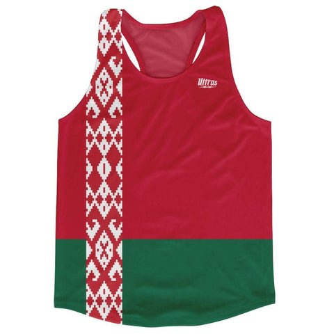 Belarus Country Flag Running Tank Top Racerback Track and Cross Country Singlet Jersey - Red Green / Adult X-Small - Running Top