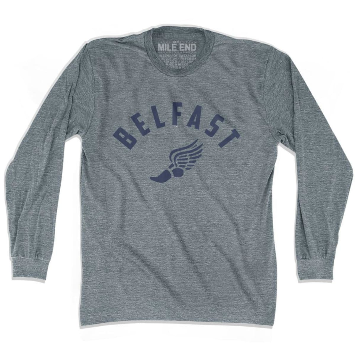 Belfast Track Long Sleeve T-shirt - Athletic Grey / Adult X-Small - Mile End Track
