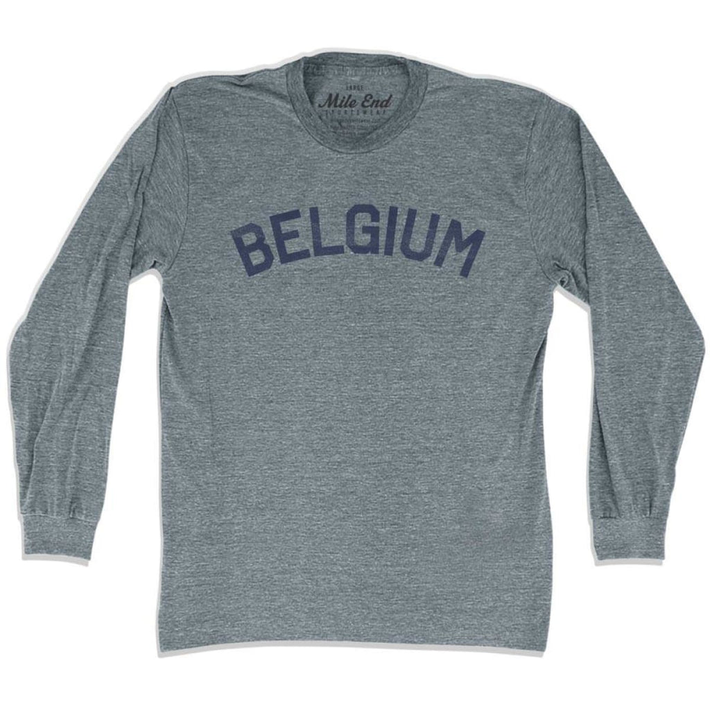Belgium City Vintage Long Sleeve T-shirt - Athletic Grey / Adult X-Small - Mile End City