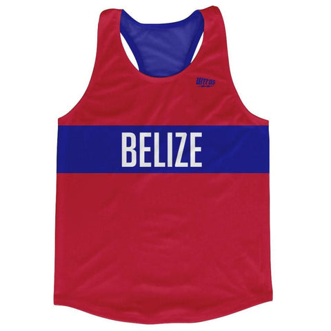 Belize Country Finish Line Running Tank Top Racerback Track and Cross Country Singlet Jersey - Red Blue / Adult X-Small - Running Top