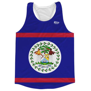 Belize Country Flag Running Tank Top Racerback Track and Cross Country Singlet Jersey - Red Blue / Adult X-Small - Running Top