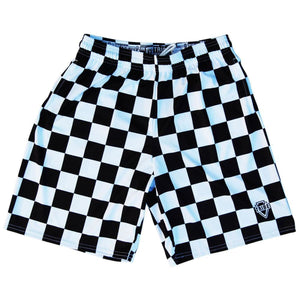 Black and White Checkerboard Lacrosse Shorts - Black and White / Youth X-Small - Tribe Lacrosse Shorts