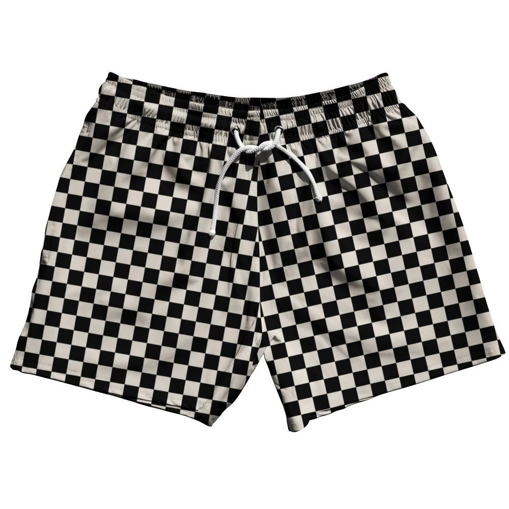 Cool Grey Checkerboard Swim Shorts 5""