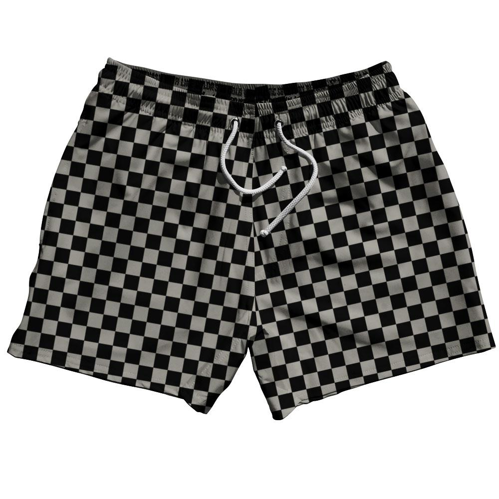 Grey Medium Checkerboard Swim Shorts 5""