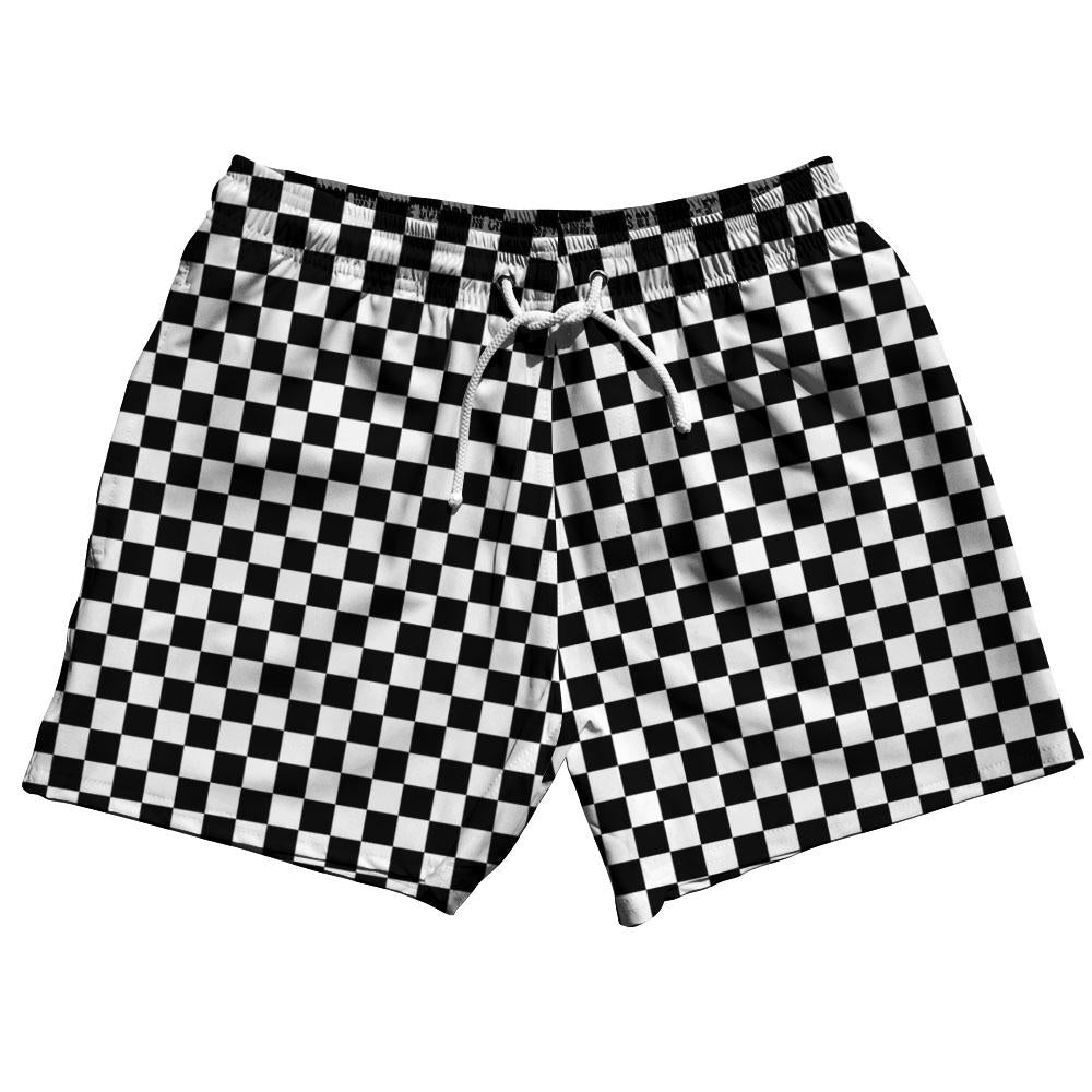 Black & White Checkerboard Swim Shorts 5""