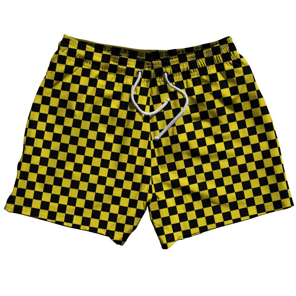 Yellow & Black Checkerboard Swim Shorts 5""