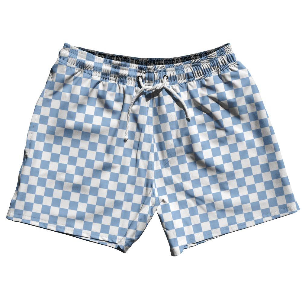 Blue & White Checkerboard Swim Shorts 5""