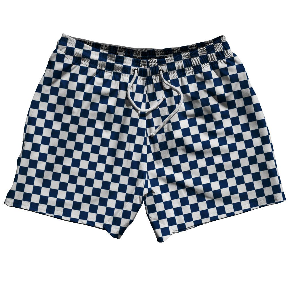 Navy & White Checkerboard Swim Shorts 5""