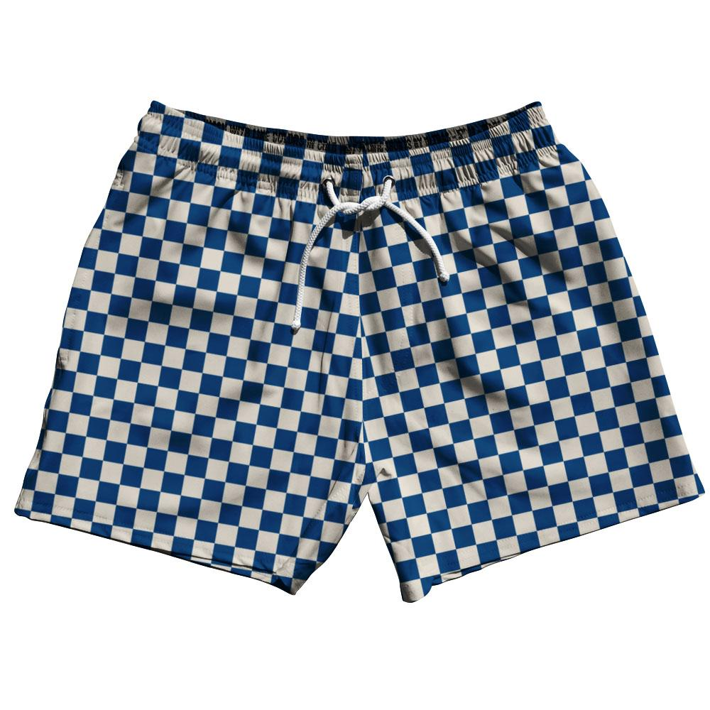 Navy & Cool Grey Checkerboard Swim Shorts 5""