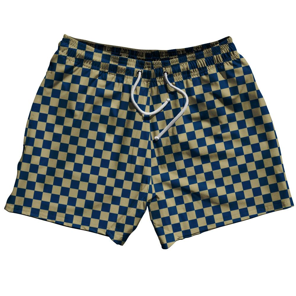 Navy & Veges Gold Checkerboard Swim Shorts 5""