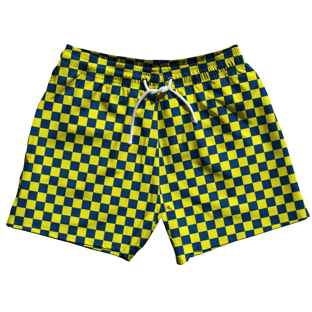 Navy & Yellow Lemon Checkerboard Swim Shorts 5""