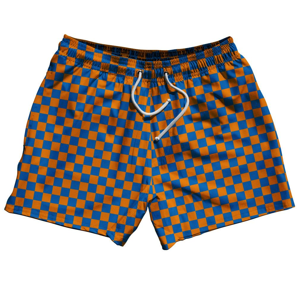 Royal & Orange Checkerboard Swim Shorts 5""