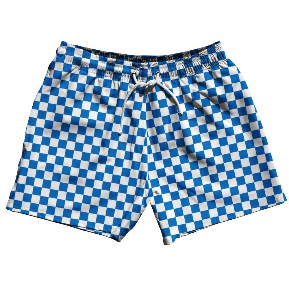 Royal & White Checkerboard Swim Shorts 5""