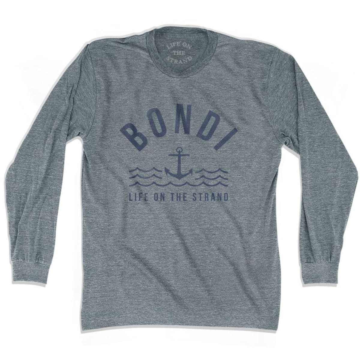 Bondi Anchor Life on the Strand Long Sleeve T-shirt - Athletic Grey / Adult X-Small - Life on the Strand Anchor
