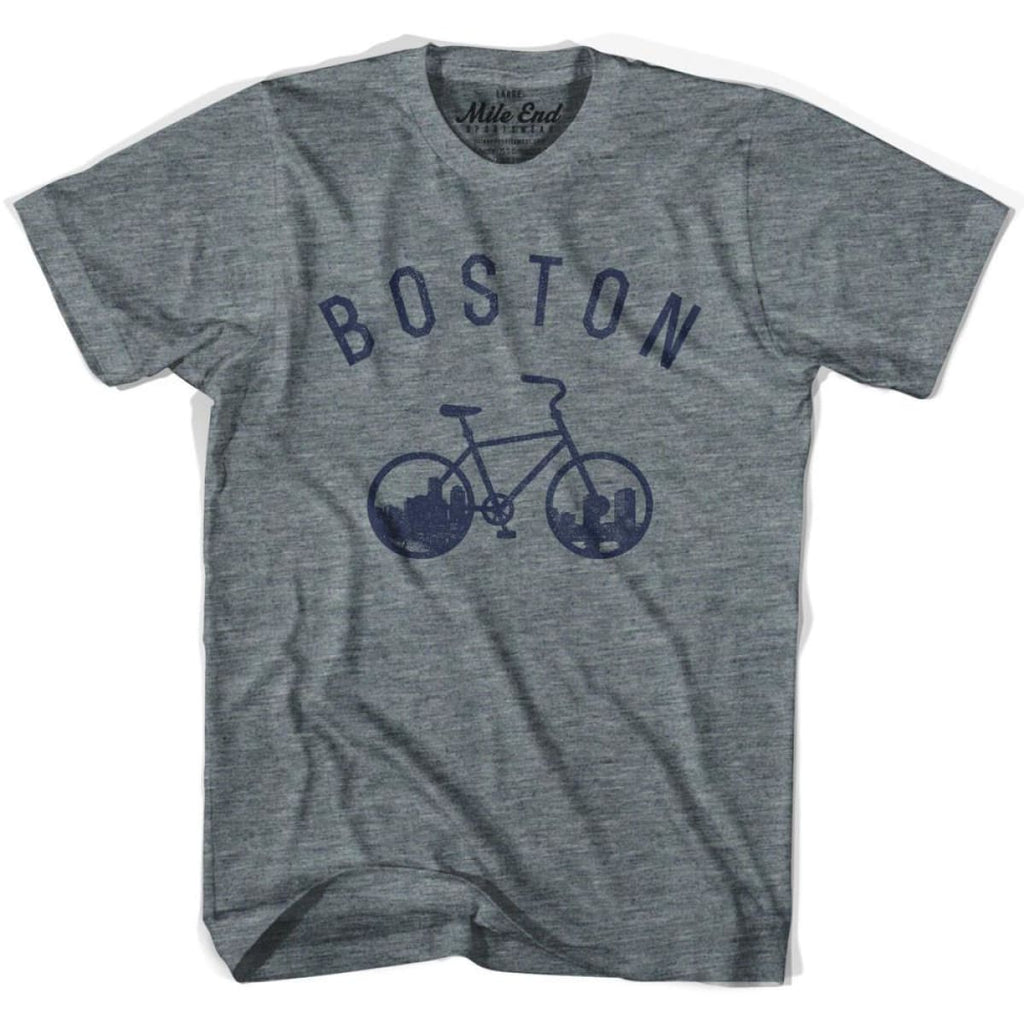 Boston Bike T-shirt - Athletic Grey / Adult X-Small - Mile End City