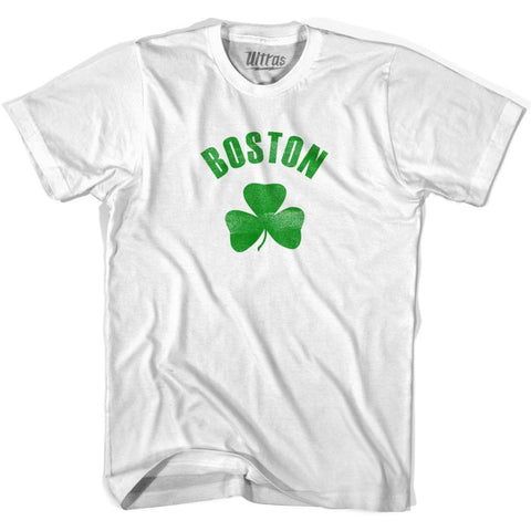 Boston City Shamrock Cotton T-shirt - White / Adult Small - Shamrock Collection