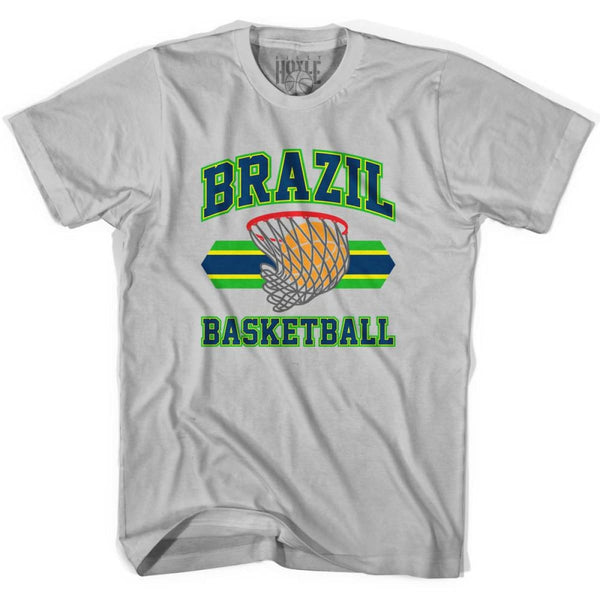 Brazil 90s Basketball T-shirts - Silver / Youth X-Small - Basketball T-shirt