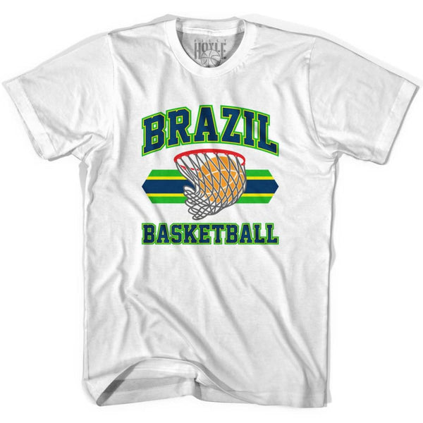Brazil 90s Basketball T-shirts - White / Youth X-Small - Basketball T-shirt