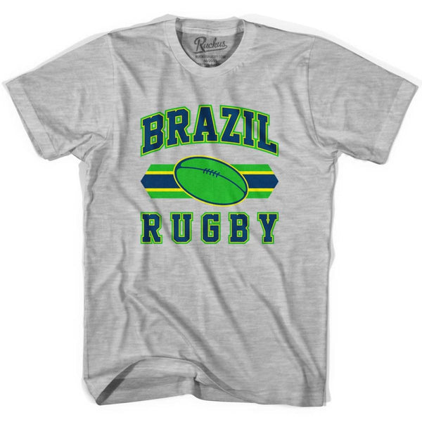 Brazil 90s Rugby Ball T-shirt - Grey Heather / Youth X-Small - Rugby Sevens