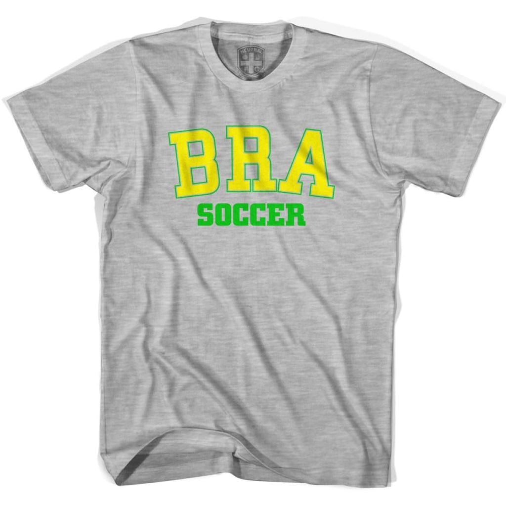 Brazil BRA Soccer Country Code T-shirt - Grey Heather / Youth X-Small - Ultras Soccer T-shirts