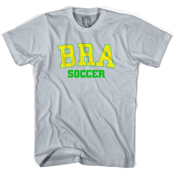 Brazil BRA Soccer Country Code T-shirt - Silver / Youth X-Small - Ultras Soccer T-shirts