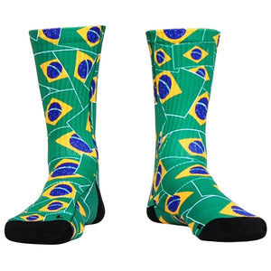 Brazil Flag Party Athletic Crew Socks - Green / Adult Medium - Socks