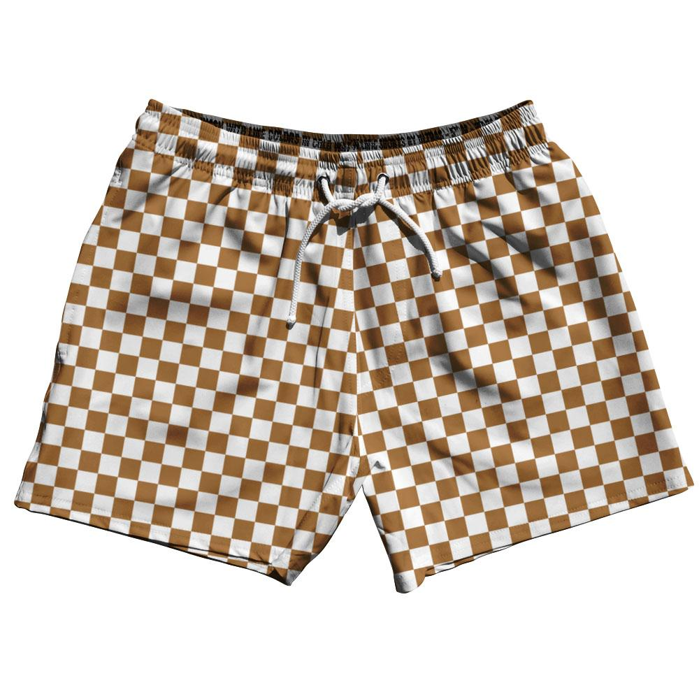 Dark Brown & White  Checkerboard Swim Shorts 5""