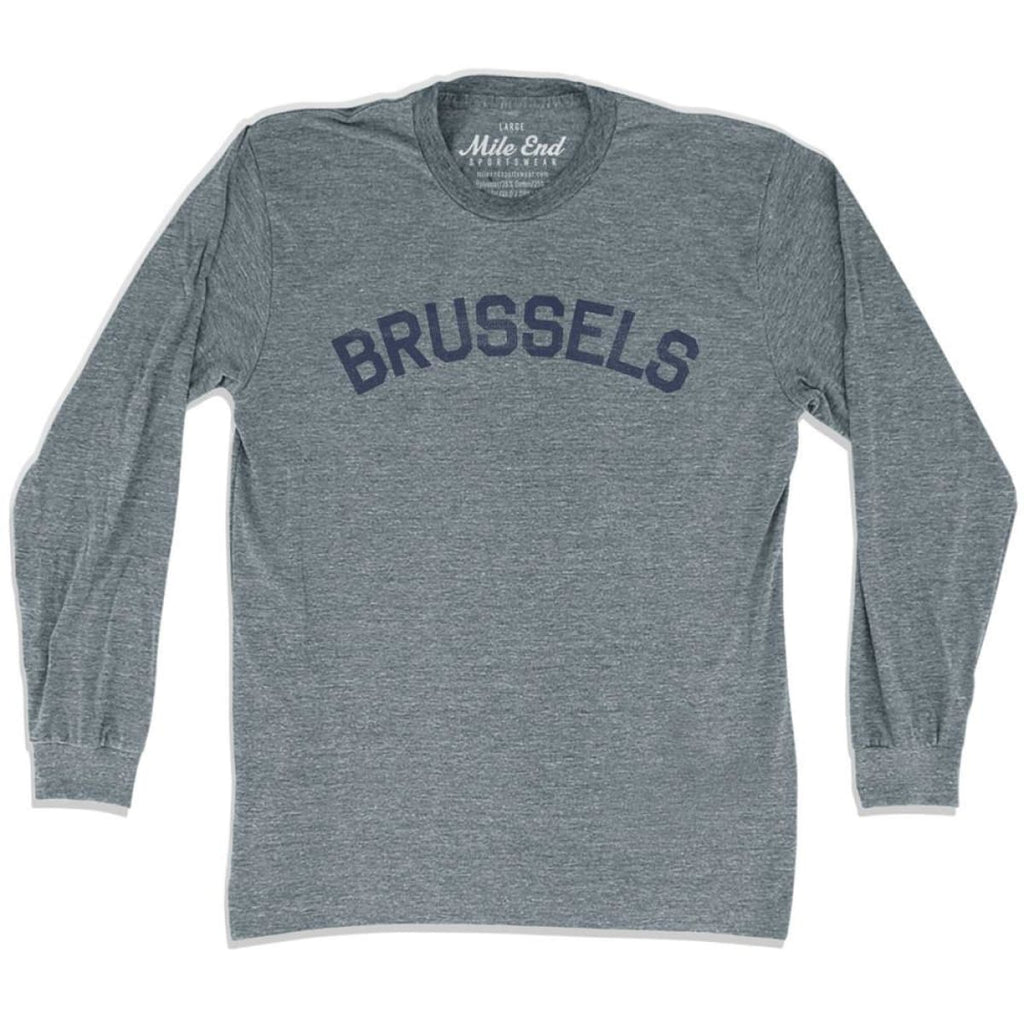 Brussels City Vintage Long Sleeve T-shirt - Athletic Grey / Adult X-Small - Mile End City