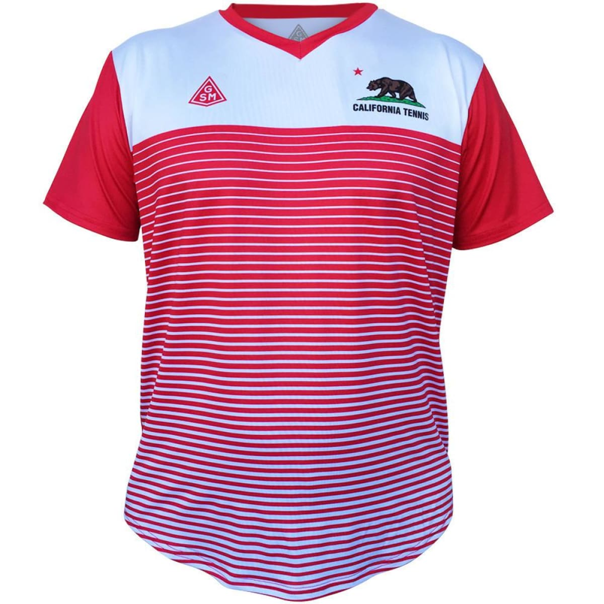 California Rise GSM Tennis Shirt - White-Red / Youth X-Small / No - Tennis Shirts
