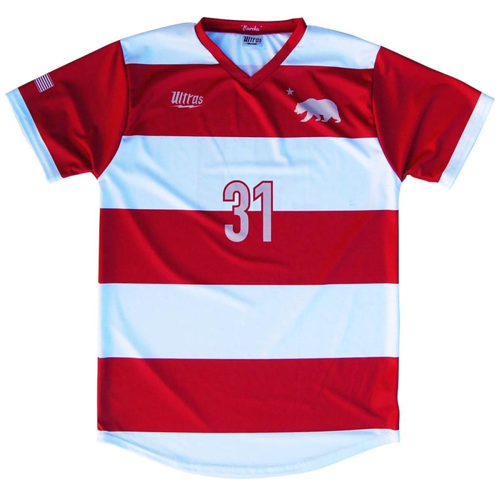California State Cup Home Soccer Jersey - Red and Whte / Youth X-Small / No - Ultras State Cup Soccer Jerseys