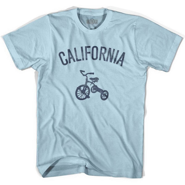California State Tricycle Adult Cotton T-shirt - Light Blue / Adult Small - Tricycle State
