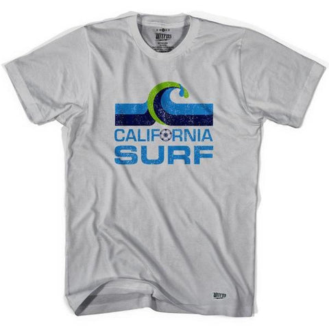 California Surf Vintage Soccer T-shirt - Cool Grey / Adult Small - Ultras Vintage American Soccer T-shirts
