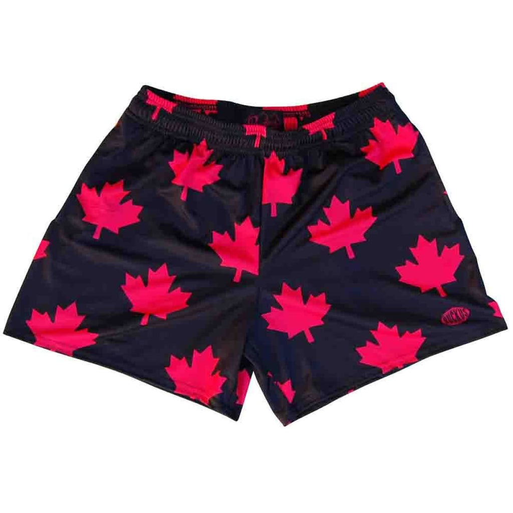 Canada All Over Maple Leafs Rugby Shorts - Black / Adult Small - Rugby Cut Training Shorts