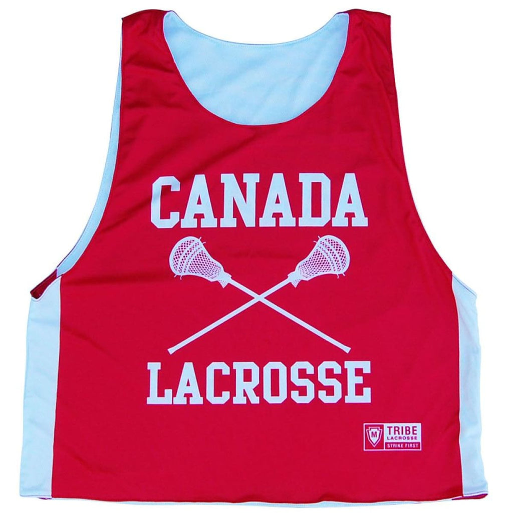 Canada Nations Lacrosse Crossed Sticks Reversible Pinnie - Red / Youth X-Small / No - Graphic Lacrosse Pinnies