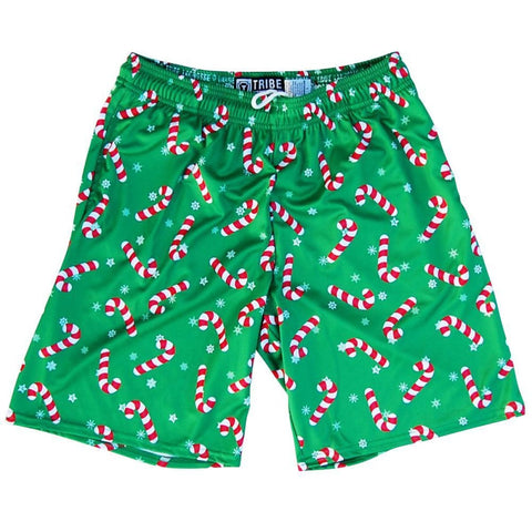 Candy Cane Christmas Winter Holiday Lacrosse Shorts - Green / Youth X-Small - Tribe Lacrosse Shorts