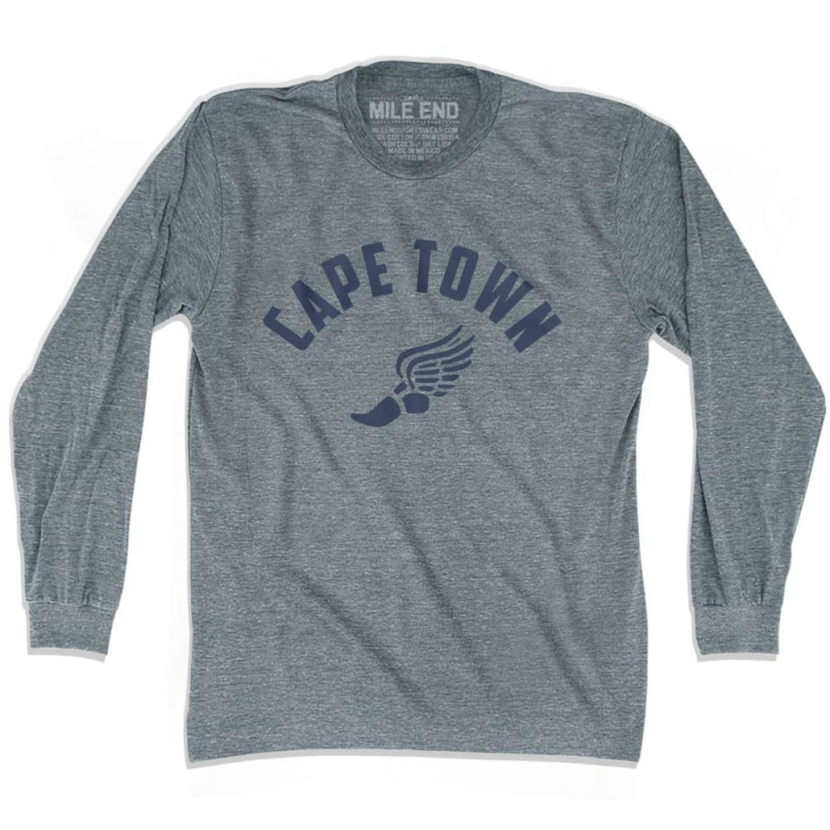 Cape Town Track Long Sleeve T-shirt - Athletic Grey / Adult X-Small - Mile End Track