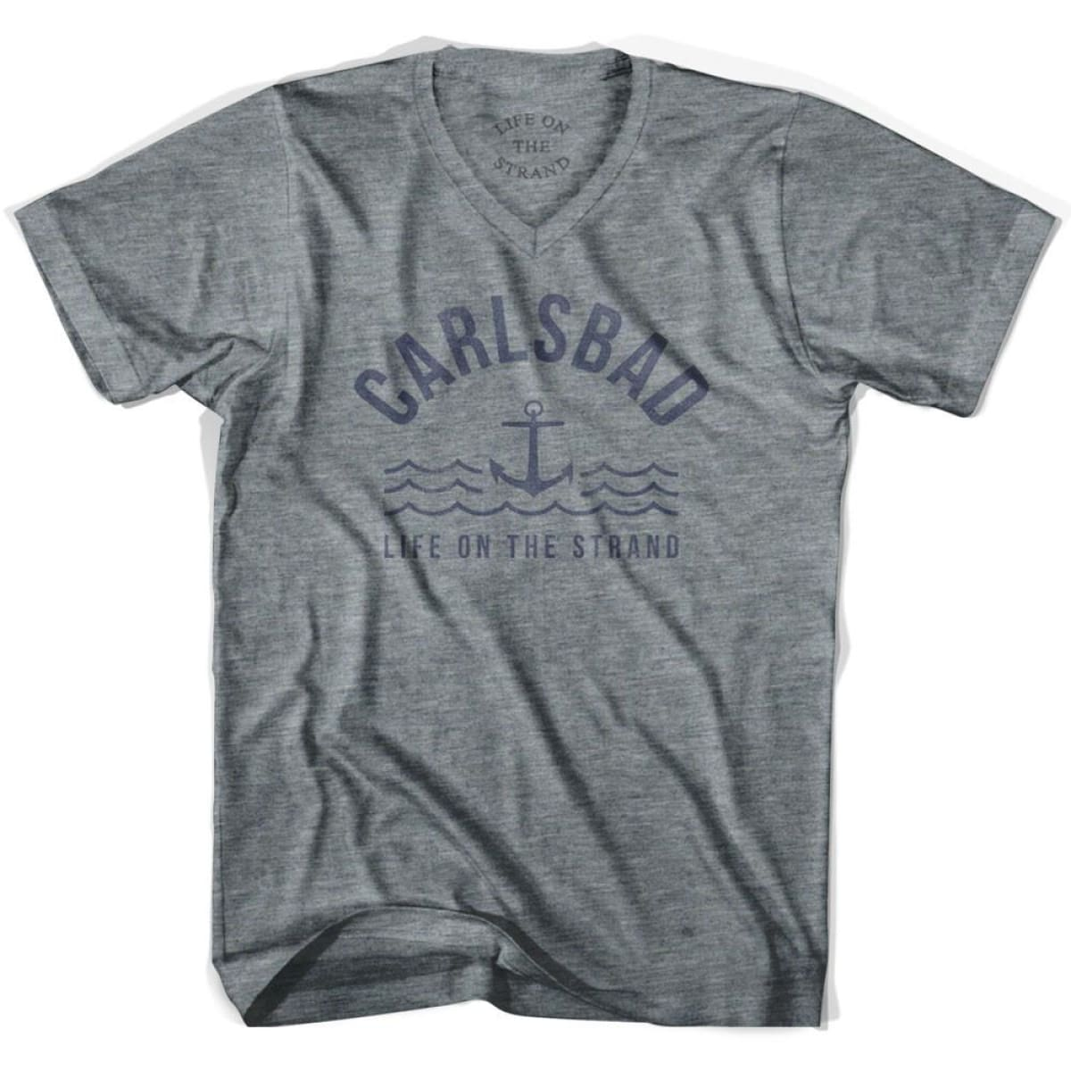 Carlsbad Anchor Life on the Strand V-neck T-shirt - Athletic Grey / Adult X-Small - Life on the Strand Anchor