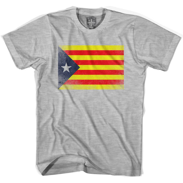 Catalonia Flag T-shirt - Heather Grey / Youth X-Small - Ultras Soccer T-shirts