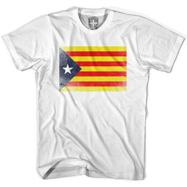 Catalonia Flag T-shirt - White / Youth X-Small - Ultras Soccer T-shirts