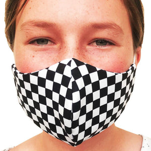 Checkerboard Black and White Lightweight Reversible Ear Loop Adult Face Mask Made In USA