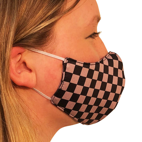 Checkerboard Black & Grey Lightweight Reversible Ear Loop Youth Face Mask Made In USA