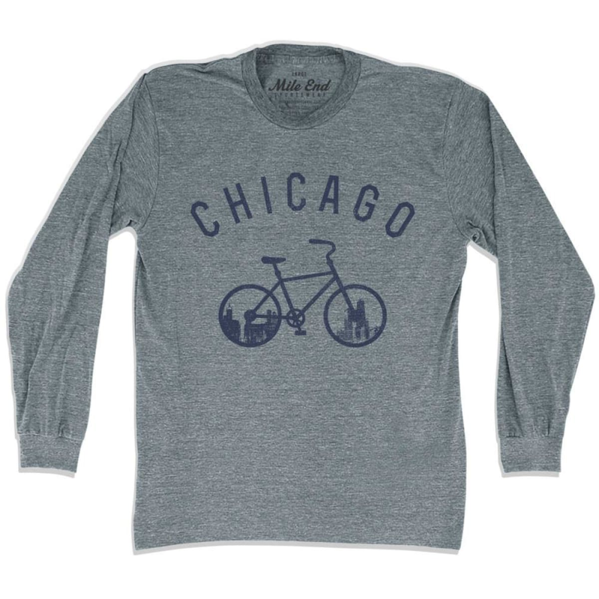 Chicago Bike Long Sleeve T-shirt - Mile End City