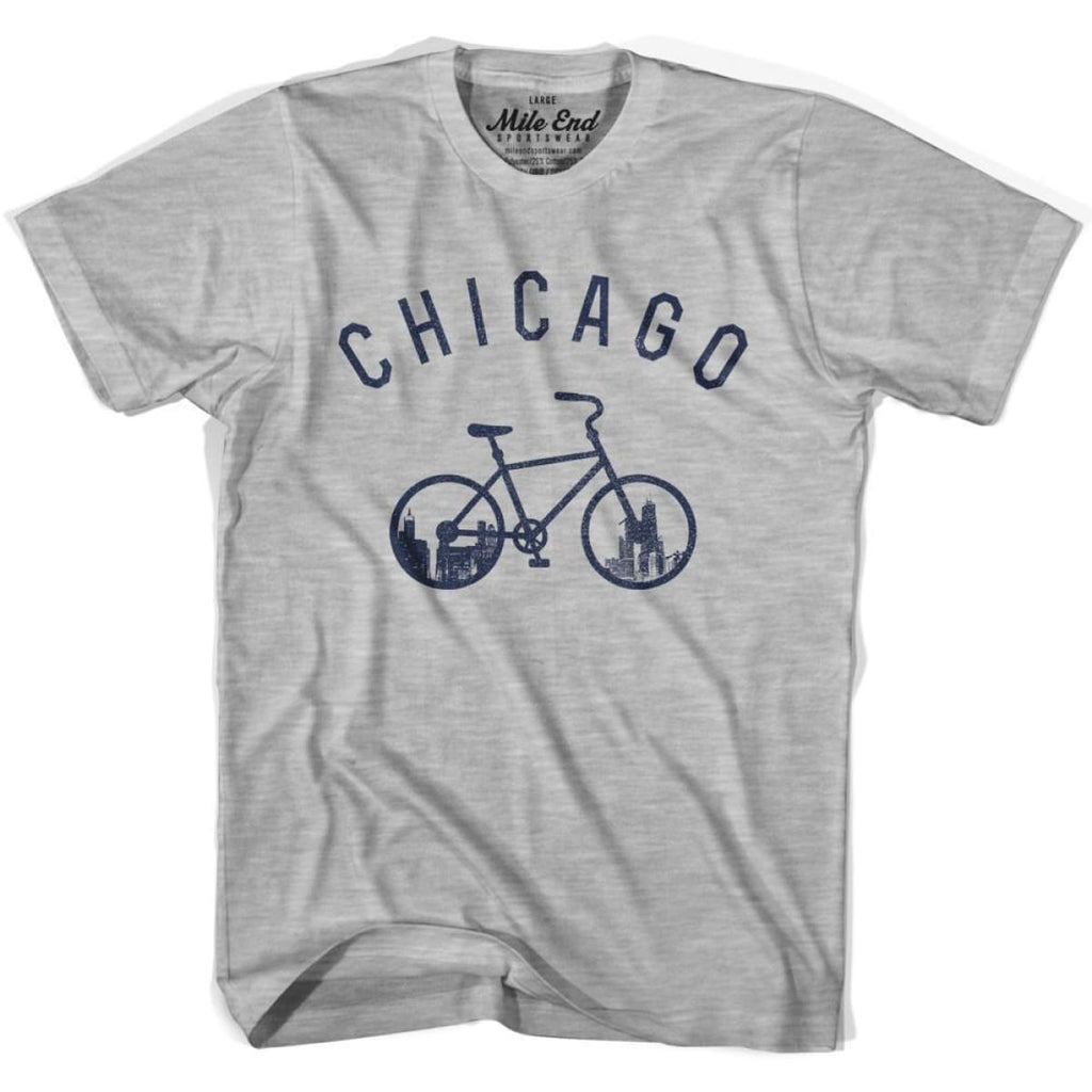 Chicago Bike T-shirt - Heather Grey / Adult X-Small - Mile End City