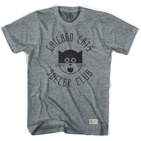 Chicago Cats Soccer T-shirt - Athletic Grey / Adult Small - Ultras Vintage American Soccer T-shirts