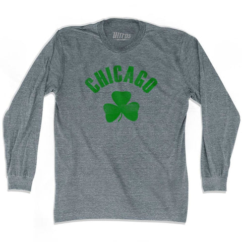 Chicago City Shamrock Tri-Blend Long Sleeve T-shirt - Athletic Grey / Adult Small - Shamrock Collection