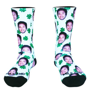 Clovers and Custom Face Athletic Crew Socks - Custom Crew Socks