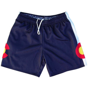 Colorado Flag Athletic Fleece Sweatshorts - Navy / Adult Small - Sweat Shorts