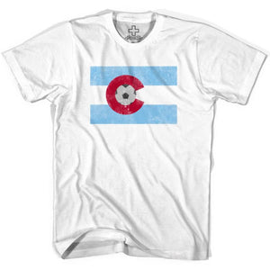 Colorado Soccer Flag Soccer T-shirt - White / Youth X-Small - Ultras Soccer T-shirts