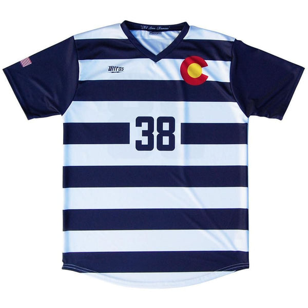 Colorado State Cup Soccer Jersey - Navy and White / Youth X-Small / No - Ultras State Cup Soccer Jerseys